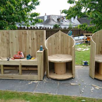 Pallet Bar/Seat and Spool Chairs