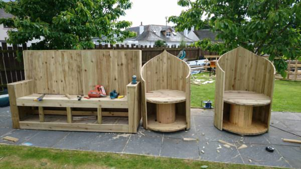 Pallet Bar/Seat and Spool Chairs Lounges & Garden Sets Pallet Benches, Pallet Chairs & Stools