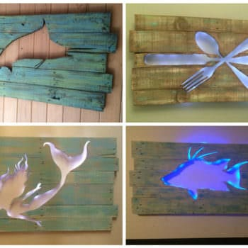 Pallet Marlin Wall Art with Led Lighting