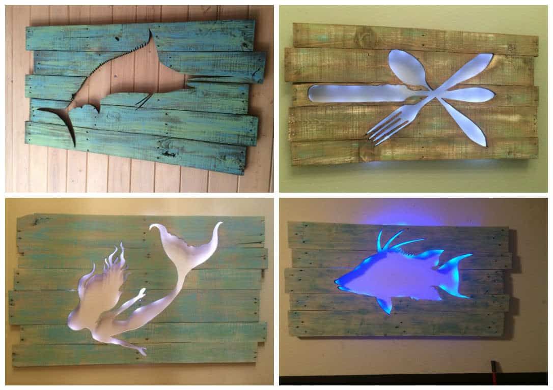 Pallet Marlin Wall Art With Led Lighting 1001 Pallets