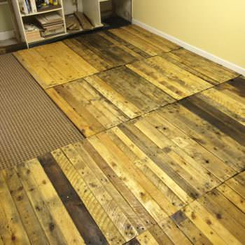 Removable Pallet Kitchen Floor!