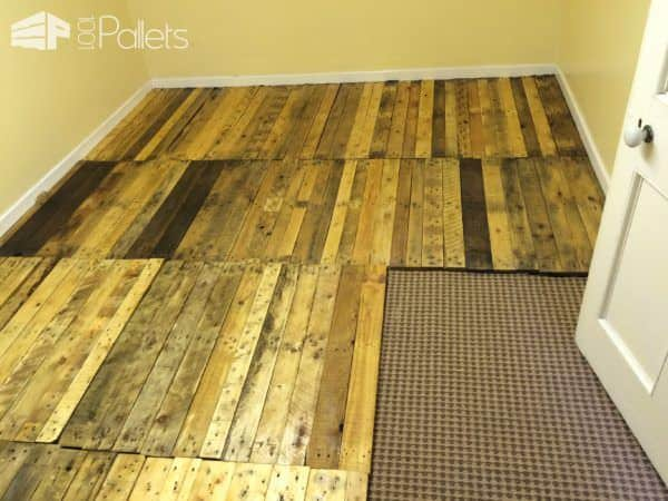 Removable Pallet Kitchen Floor! Pallet Flooring