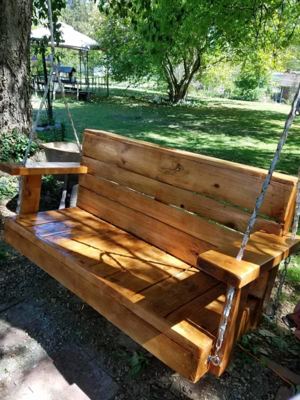 Swing I Made for Mother's Day Pallet Benches, Pallet Chairs & Stools Pallets in the Garden