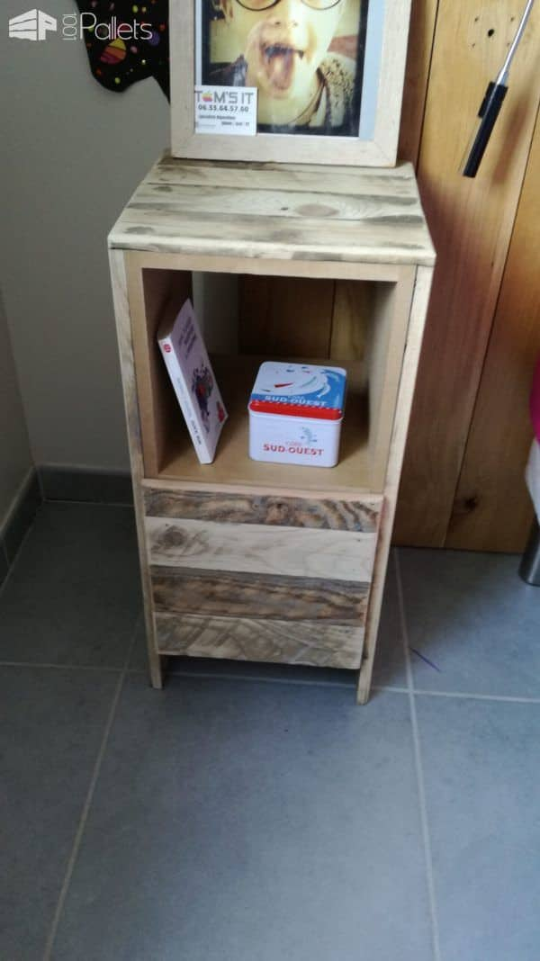 Table de nuit pallet bedside table pallet ideas 1001 pallets - Table de nuit palette ...