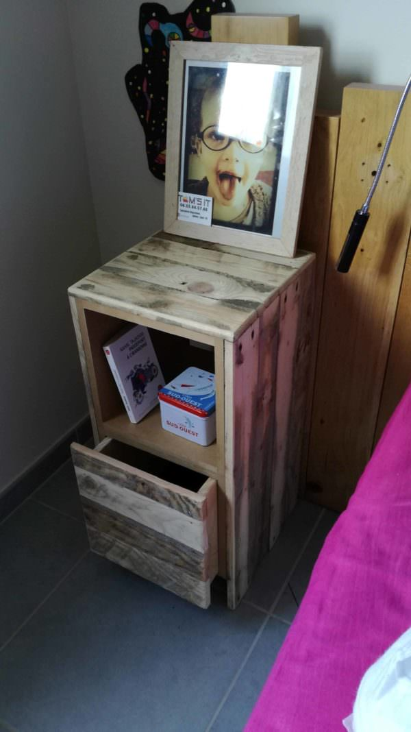 Table De Nuit / Pallet Bedside Table DIY Pallet bed headboard and frame - Pallet Bedroom Pallet Desks & Pallet Tables
