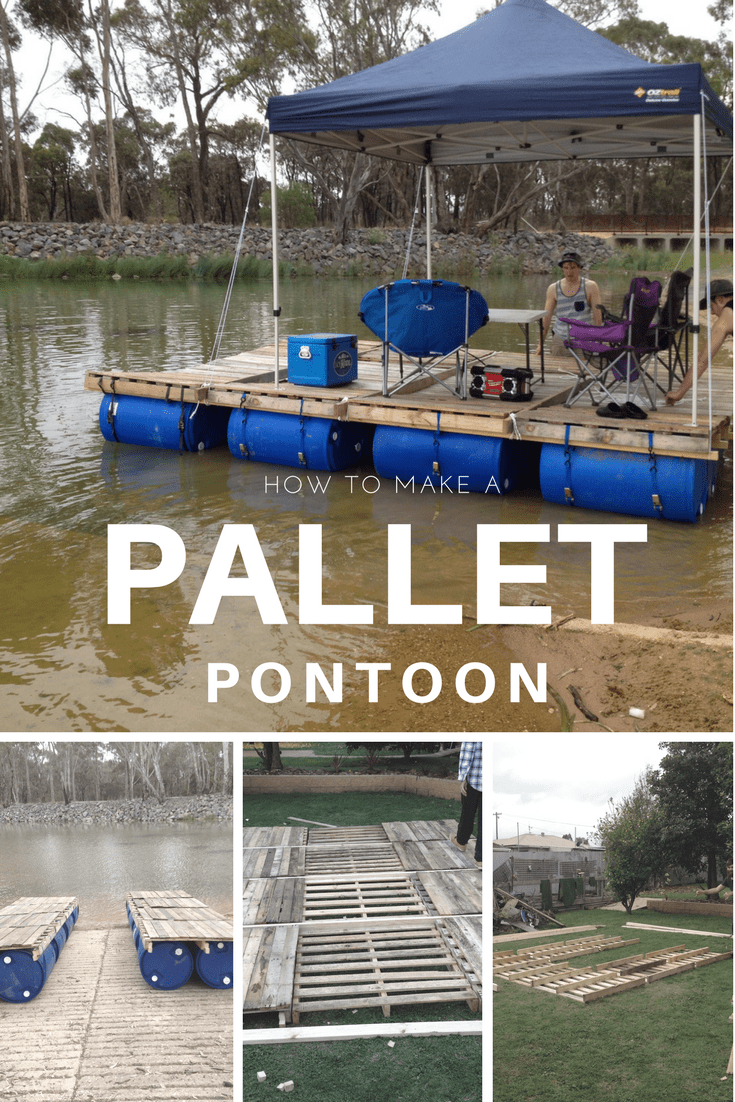 Diy Portable Pontoon Using Old Pallets And Old Blue Drums
