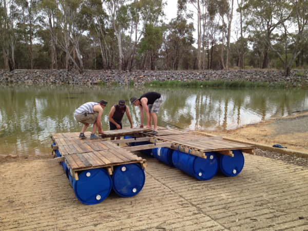Diy: Portable Pontoon Using Old Pallets and Old Blue Drums Pallet Flooring Pallet Sheds, Pallet Cabins, Pallet Huts & Pallet Playhouses