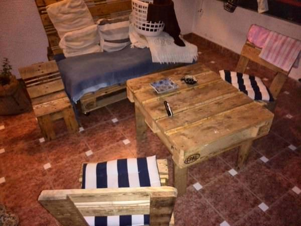 Pallet Balcony Lounge Set Lounges & Garden Sets