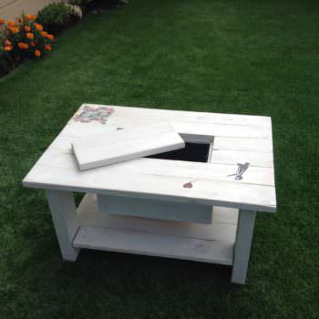 Pallet Coffee Table with Recessed Ice Chest