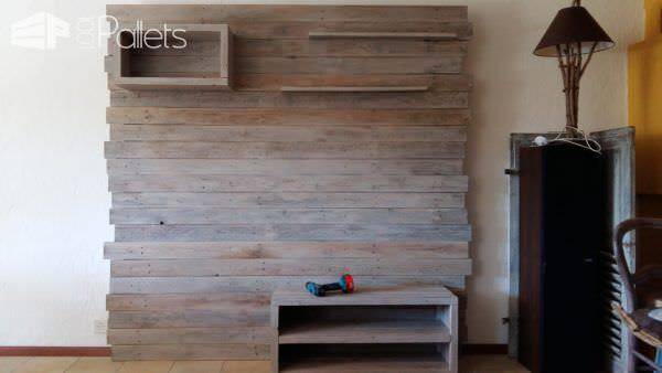 Pallet Entertainment Center Wall / Meuble Tv En Palette Pallet TV Stands & Racks