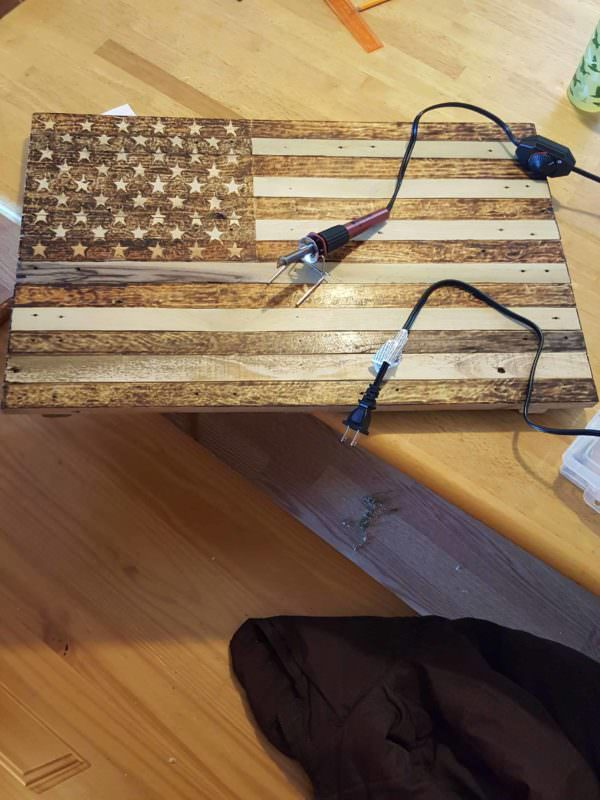 Pallet Flag Pyrography Pallet Wall Decor & Pallet Painting