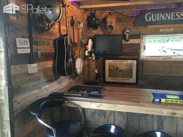 Man Cave Bar Out Of Pallets : Wood pallets into a garage bar man cave