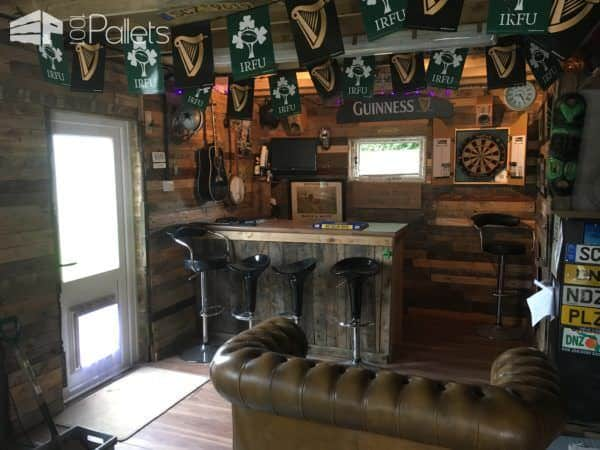 Pallet Garage Bar / Mancave DIY Pallet Bars Pallet Walls & Pallet Doors
