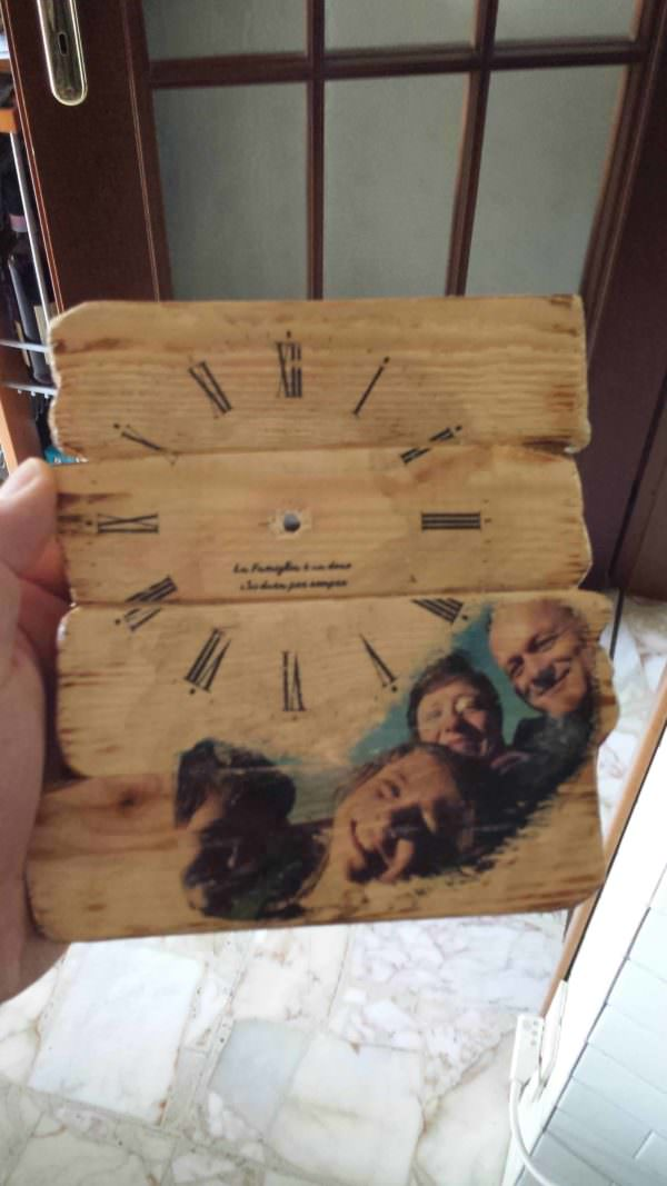 Pallet Photo Clock / Orologio Da Pallet Con Foto Tecnica Potch Pallet Clocks