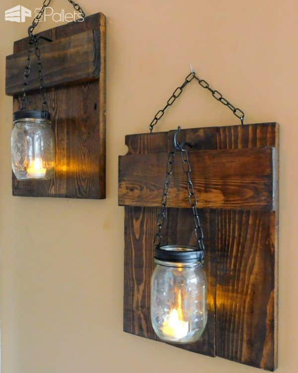 Rustic Pallet Sconces Pallet Candle HoldersPallet Wall Decor & Pallet Painting