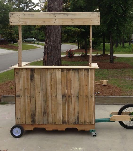 10 lemonade stands made out of repurposed pallets 1001 for How to build a lemonade stand on wheels