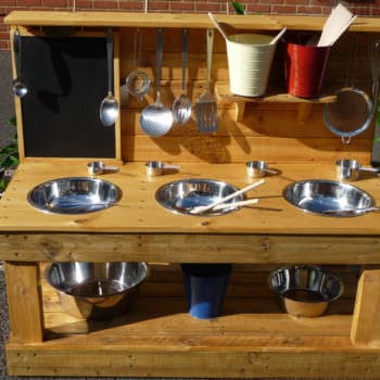 3-bowl Pallet Mud Kitchen with Removeable Blackboard