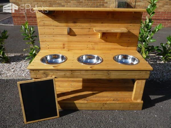 3-bowl Pallet Mud Kitchen with Removeable Blackboard Fun Pallet Crafts for KidsPallet Desks & Pallet Tables