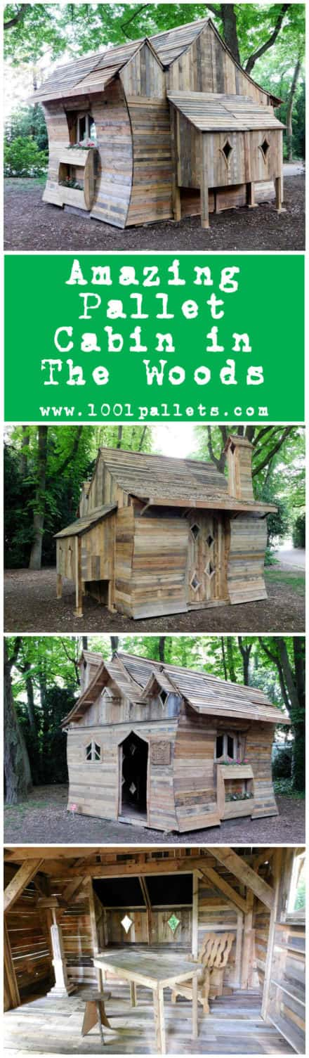 Amazing Pallet Cabin in The Woods