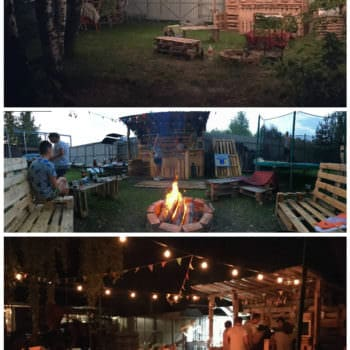 Backyard Pallet Bar Lounge Set