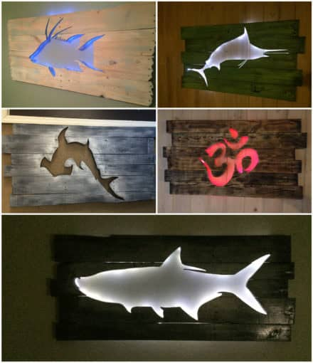 Beautiful Backlit Pallet Wall Art