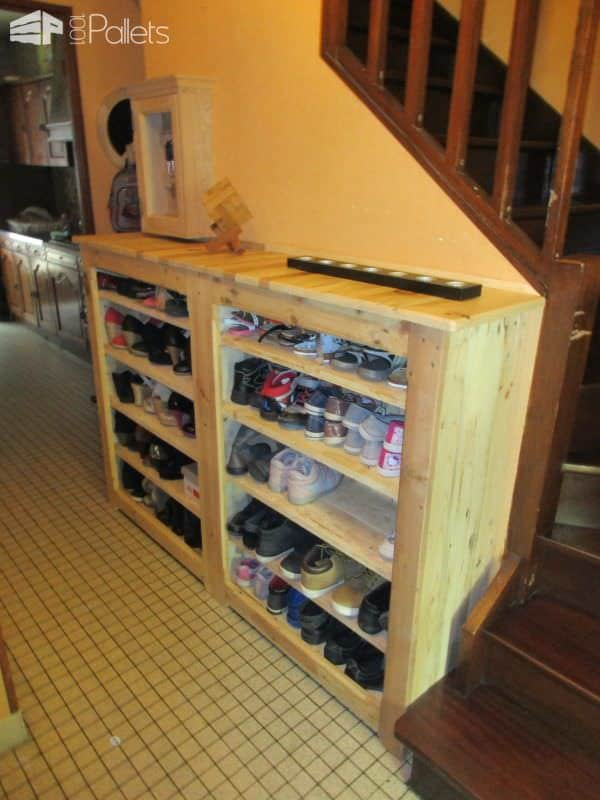 Beautiful Handy Hallway Pallet Shoe Rack Pallet Shelves & Pallet Coat Hangers
