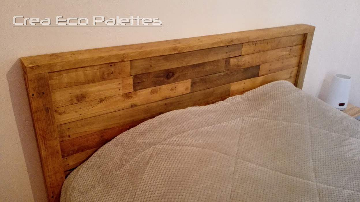 framed pallet headboard t te de lit 1001 pallets. Black Bedroom Furniture Sets. Home Design Ideas