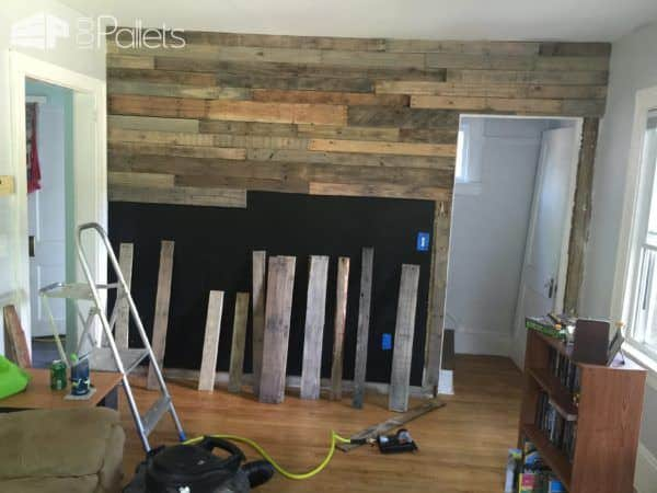 Living Room Pallet Accent Wall • 1001 Pallets