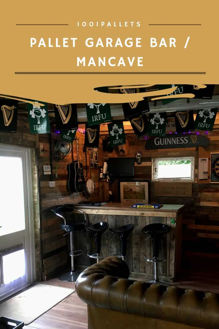 22 Wood Pallets Into A Garage Bar Man Cave 1001 Pallets