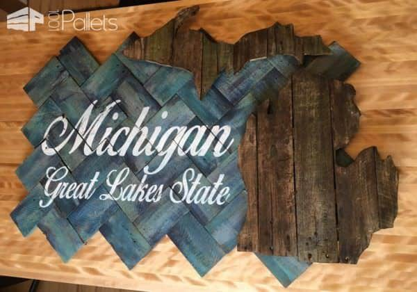 Pallet Palooza 1st Place In Signs: Great Lakes State Pallet Wall Decor & Pallet Painting