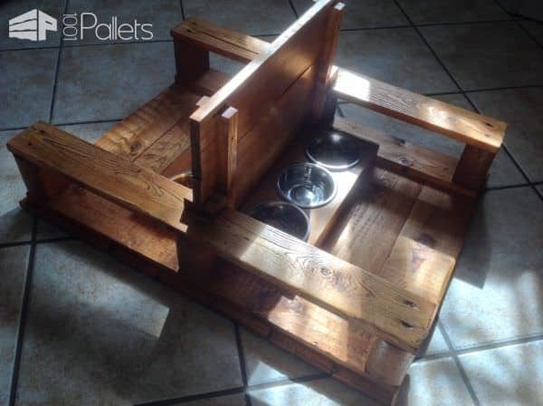 Pallet Two-station Cat Feeder Animal Pallet Houses & Pallet Supplies