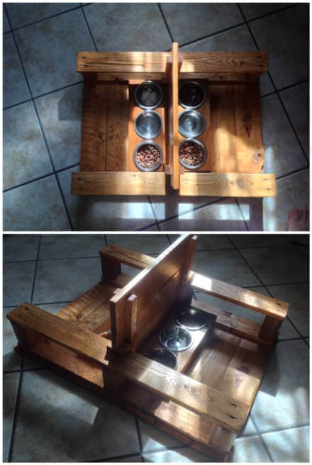 Pallet Two-station Cat Feeder