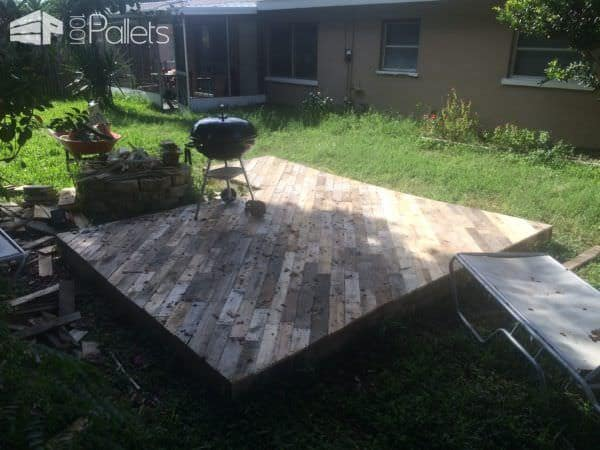 Patio Deck Out Of 25 Wooden Pallets Pallet Floors & DecksPallet Terraces & Pallet Patios