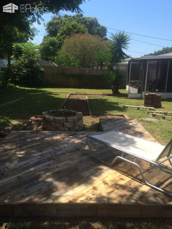 Patio Deck Out Of 25 Wooden Pallets Pallet Flooring Pallet Terraces & Pallet Patios