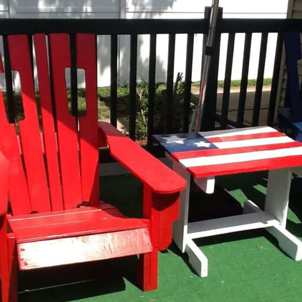 Patriotic Pallet Adirondack Patio Set Pallet Benches, Pallet Chairs & Pallet Stools