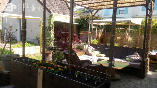 Pergola Addition to Our Pallet Lounge Set Lounges & Garden Sets Pallet Terraces & Pallet Patios