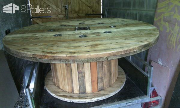 Upcycled Spool Table Pallet Desks & Pallet Tables