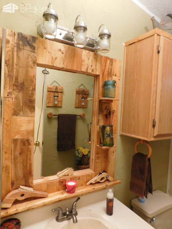 Wow - Pallet Bathroom Makeover! Pallet Boxes & Chests Pallet Candle Holders Pallet Home Accessories Pallet Wall Decor & Pallet Painting