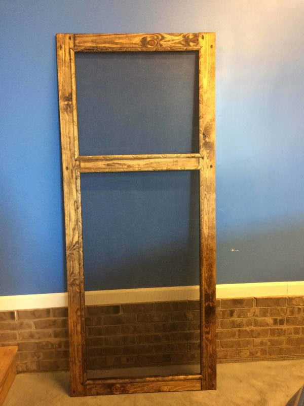 Decorative-trimmed DIY Pallet Screen Door Pallet Walls & Pallet Doors
