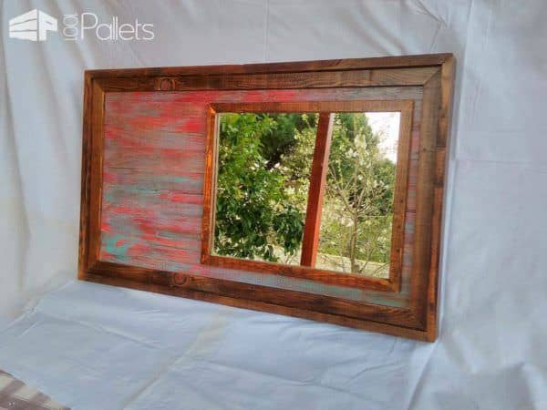 Industrial-chic Pallet Mirror Pallet Wall Decor & Pallet Painting