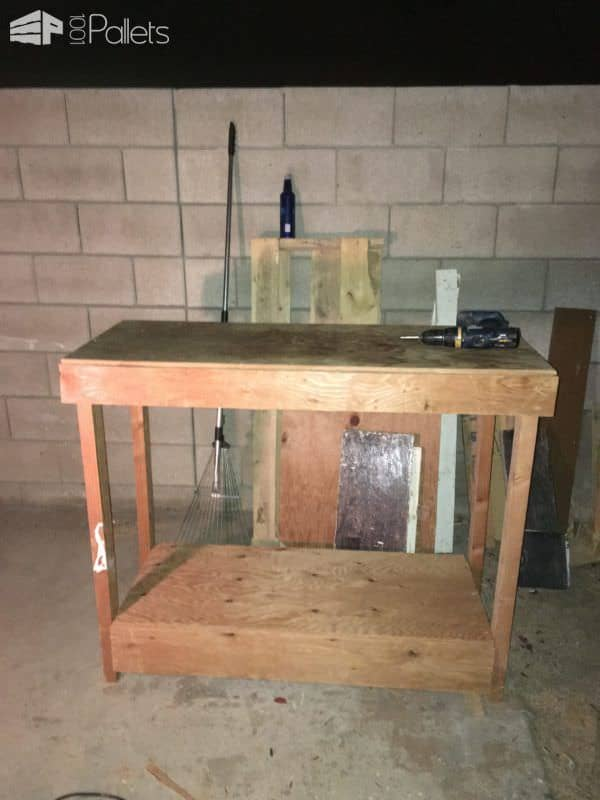 Make Your Own Plywood-topped Pallet Workbench Pallet Benches, Pallet Chairs & Stools