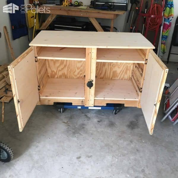 Pallet TV Double-cabinet Console Stand Is My First Pallet Project Pallet Cabinets & Pallet WardrobesPallet TV Stand & Rack