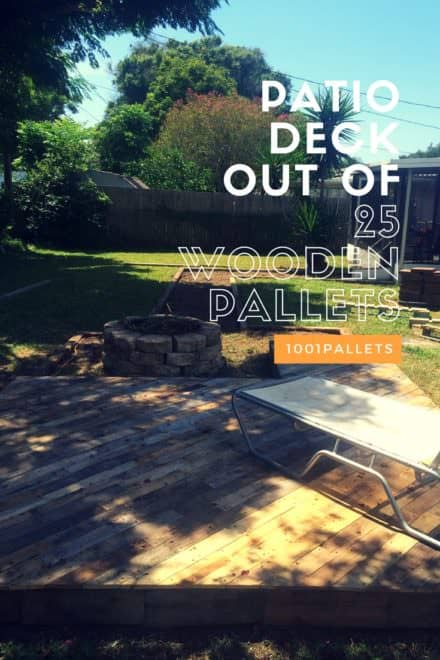Patio Deck Out Of 25 Wooden Pallets