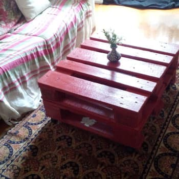 Red Decoupage Pallet Coffee Table