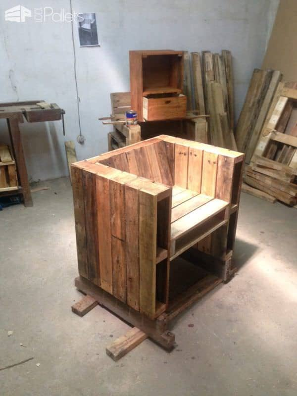 Robust Side-storage Pallet Loveseat Pallet Benches, Pallet Chairs & Stools Pallet Sofas