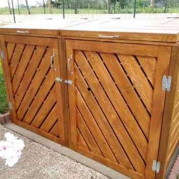 Stylish Pallet Trash/Recycling Bin Shed - Cache Poubelle
