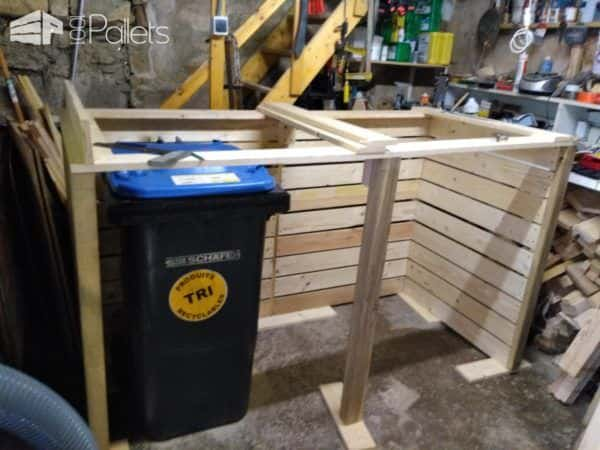 Stylish Pallet Trash/Recycling Bin Shed - Cache Poubelle Pallet Boxes & Chests Pallet Sheds, Pallet Cabins, Pallet Huts & Pallet Playhouses