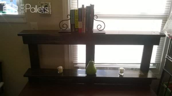 Airy Walnut Two Tier Pallet Book Shelf Pallet Bookcases & Pallet Bookshelves