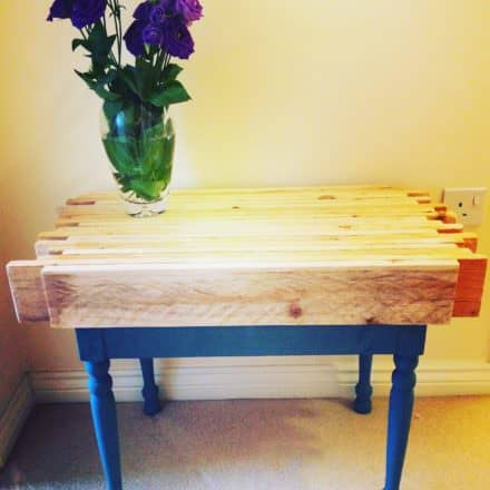 Butcherblock Style Pallet Side Table
