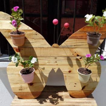 Cheerful Pallet Butterfly Planter Wall Art